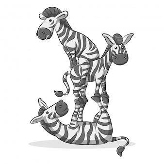 Симпатичные и счастливые мультяшные зебры