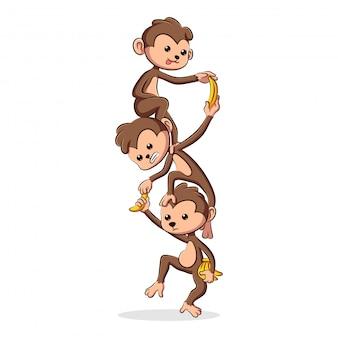 Милые и счастливые мультяшные обезьяны