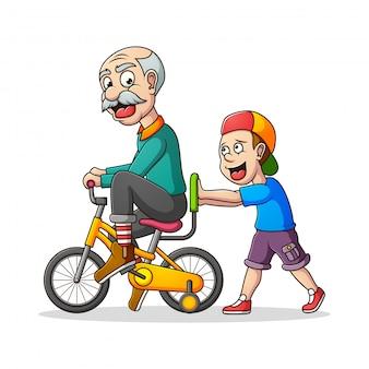 Дедушка играет со своим внуком