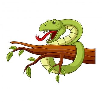 Смешная змея висит на стволе дерева