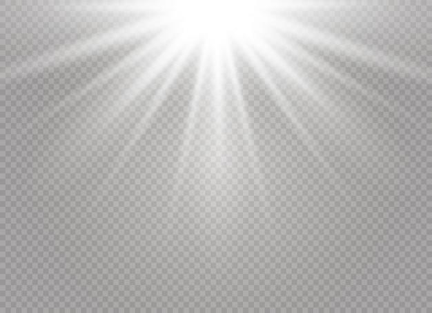 透明な背景に白い輝く光バースト爆発。