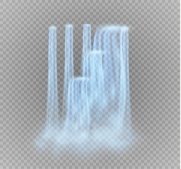 透明な背景に分離された滝。水の流れ。