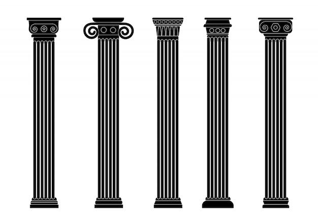 Силуэт римские, греческие черные старые колонны, колоннада.