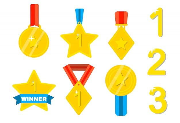 Золотые кубки для победителей. награда, трофей за чемпионство.