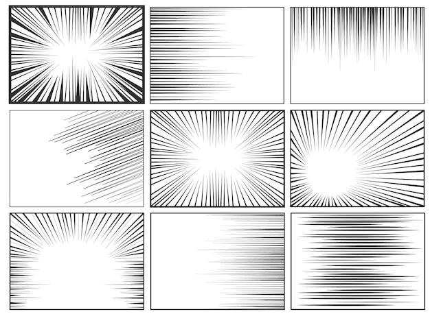 漫画本の放射状の線の背景。