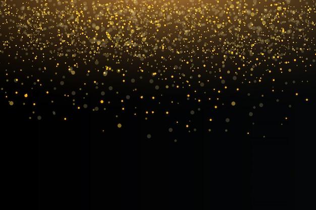 金色の火花と金色の星が特別な光の効果を輝かせます