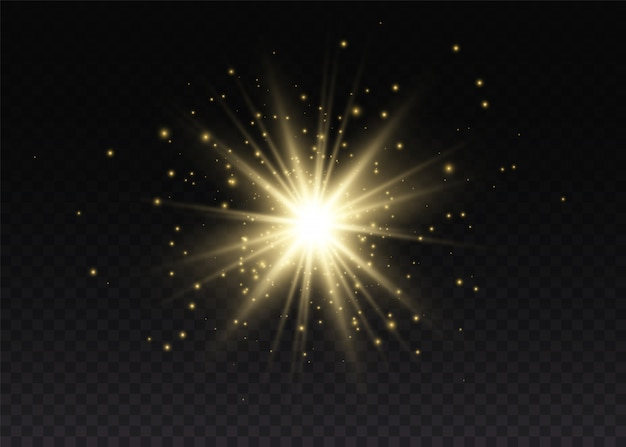 透明な太陽、明るいフラッシュ。輝く魔法のほこりの粒子。輝く星。黄色の輝く光が爆発する