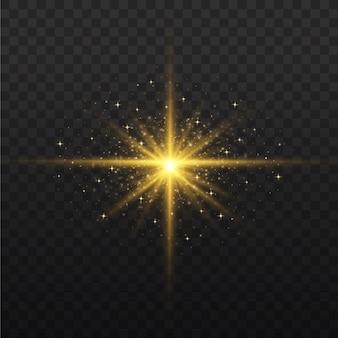 Набор ярких звезд. желтый светящийся свет взрывается на прозрачном фоне. прозрачное сияющее солнце, яркая вспышка. по центру яркая вспышка. сверкающие магические частицы пыли. блестки.