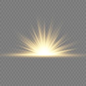 Прозрачное сияющее солнце, яркая вспышка. желтый светящийся свет взрывается. по центру яркая вспышка. сверкающие магические частицы пыли. яркая звезда. блестки.