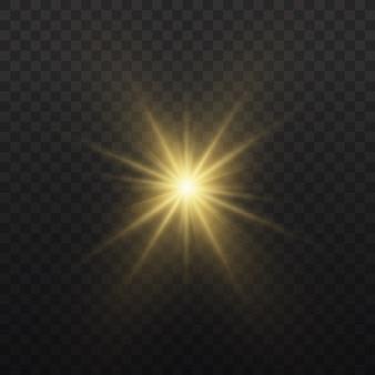 Яркая звезда. желтый светящийся свет взрывается. прозрачное сияющее солнце, яркая вспышка. по центру яркая вспышка. сверкающие магические частицы пыли.
