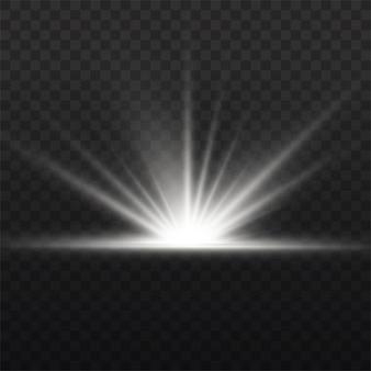 Прозрачное сияющее солнце, яркая вспышка. белый светящийся свет взрывается. по центру яркая вспышка. сверкающие магические частицы пыли. яркая звезда.