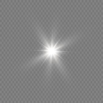 Яркая звезда. прозрачное сияющее солнце, яркая вспышка. белый светящийся свет взрывается. сверкающие магические частицы пыли. иллюстрации.