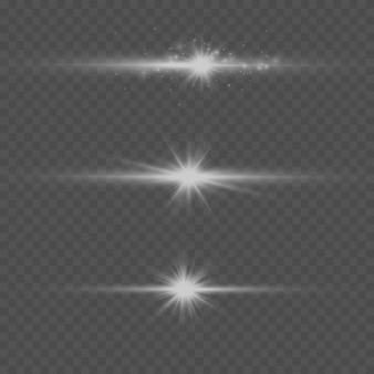 Белый горизонтальный объектив с бликами. лазерные лучи, горизонтальные световые лучи. яркий абстрактный игристое подкладке фон.