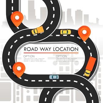 Карта улиц с навигационными значками. концепция навигации.