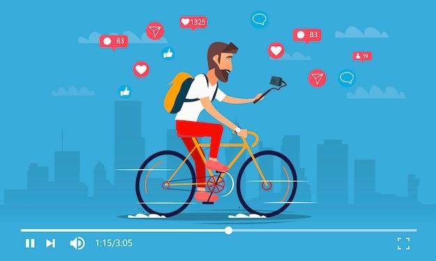 Человек налет на велосипеды, видео блоги. активный блоггер персонаж.