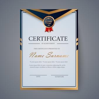Сертификат благодарности, награда дипломного шаблона. шаблон сертификата в золотых тонах с золотой медалью. иллюстрация