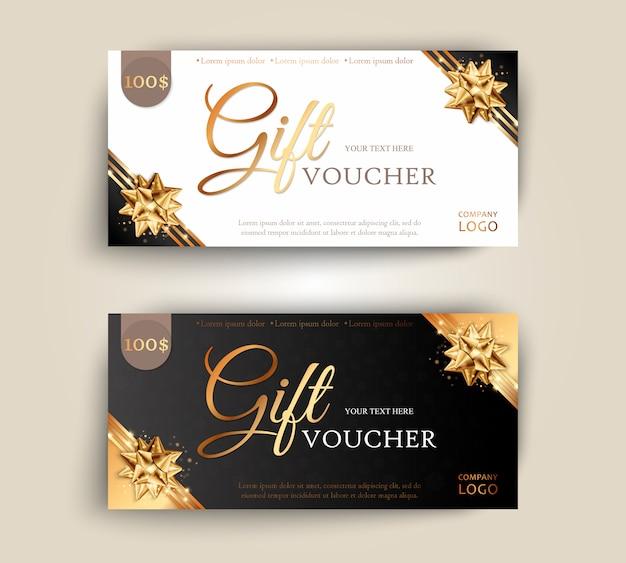 Набор роскошных подарочных сертификатов с лентами и подарочной коробке.
