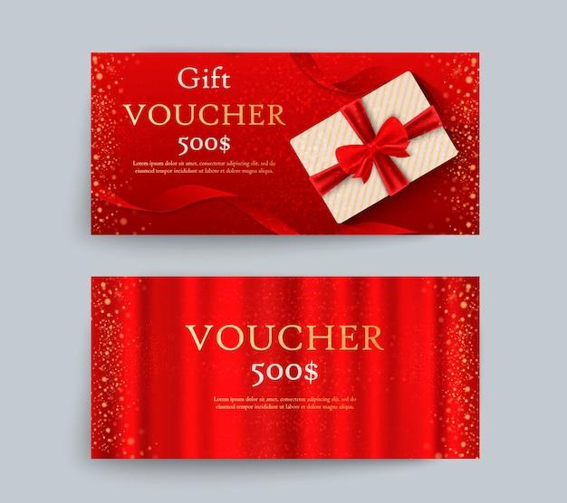 リボンとギフトボックスで豪華なギフト券のセット。お祝いギフトカード、クーポン、証明書のエレガントなテンプレート。