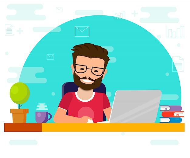 コンピューターで作業する人。作業机、フラット漫画人キャラクター