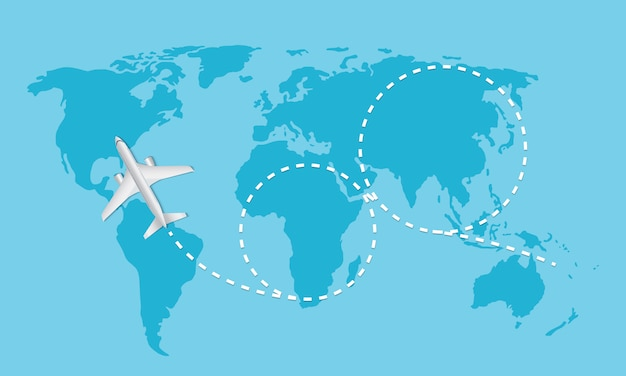 Самолет летит и след на карте мира