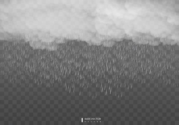 透明な背景に雨が降る