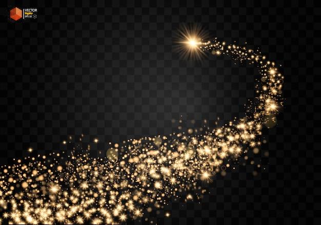 Космическая сверкающая волна. золотые сверкающие звезды, пыль, след, сверкающие частицы