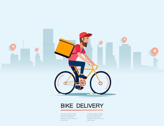 Доставка, парень на байке несет посылку. городской пейзаж. курьер вождения велосипеда фаст-фуд. плоский дизайн векторные иллюстрации.