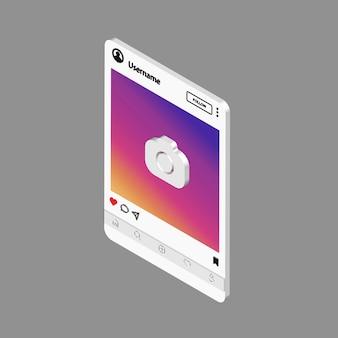 Социальные сети . шаблон интерфейса для мобильного приложения. изометрические фото рамка иллюстрации.