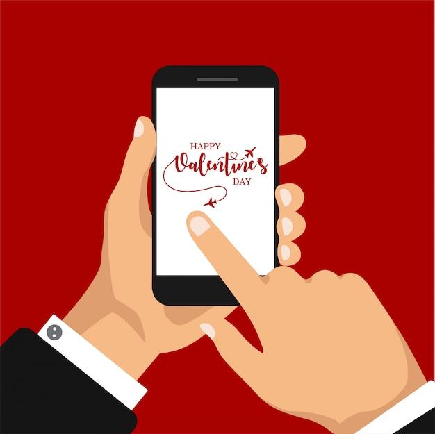 ロマンチックなメールの送受信。電話画面に現代書道とバレンタインの日ロマンチックなグリーティングカード。手書きレタリングアプリ。図。