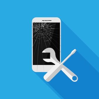 青に分離された壊れた携帯電話