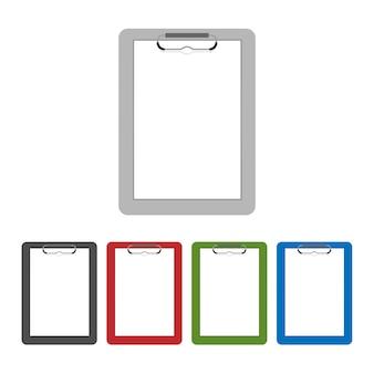 透明に分離された空のクリップボードまたはチェックリストアイコンのフラットなデザイン