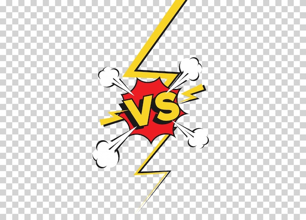 フラットコミックスタイルの背景と戦う。透明な背景に分離された対戦いの挑戦。漫画の漫画のベクトルの背景。雷光線の境界線との漫画の戦いの決闘。