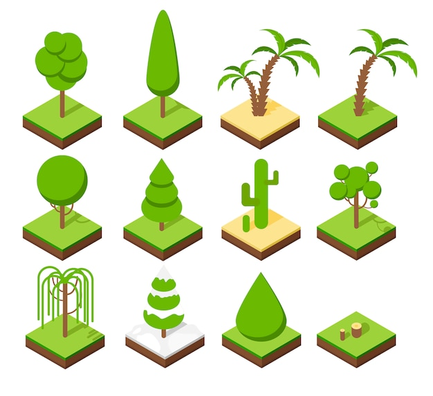 公園の植物の等尺性セット。