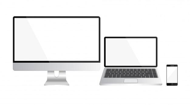 現実的なコンピューター、ラップトップ、白い背景で隔離のスマートフォンのセット。空または空白のディスプレイ画面。透明な背景に分離されたコンピューターのモックアップ。オフィス用機器。