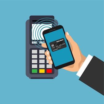 Иллюстрация мобильного и бесконтактного платежа