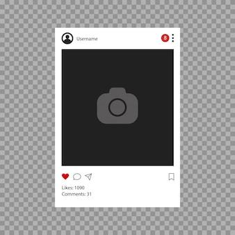 ソーシャルネットワークのモックアップ。モバイルアプリのインターフェイステンプレート。フラットなデザインの写真またはビデオフレームフレーム