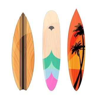 Установленные доски для серфинга изолированными на белой предпосылке. доска для волновых райдеров. иллюстрация