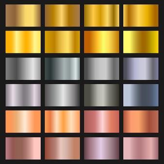 金、青銅、銀のグラデーション背景のセット。ボーダー、フレーム、リボン、ラベルデザインの黄金と金属のグラデーションコレクション。色見本。