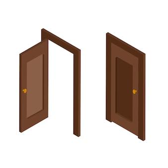 Изометрический вид открытых и закрытых коричневых входных дверей. дверь изометрическая кон. иллюстрация на белом фоне.