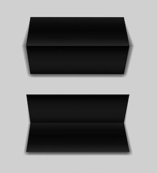 ソフトシャドウの灰色の背景に現実的な二つ折り紙パンフレットのセットです。黒の水平の小冊子のテンプレート。