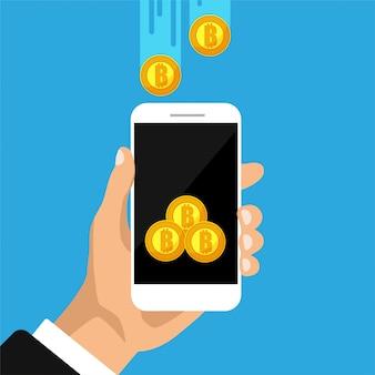 Криптовалютная технология, обмен биткойнов, мобильный банкинг. рука держит смартфон с биткойн на экране.