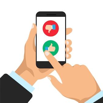 Человек выбирает нравится или не нравится на дисплее телефона. большие пальцы вверх и вниз на смартфоне. иллюстрации.