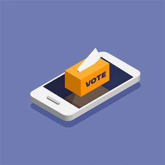Голосование онлайн в изометрическом стиле. поместите бюллетень для голосования в урну для голосования, стоящую на дисплее телефона. иллюстрация изолирована.