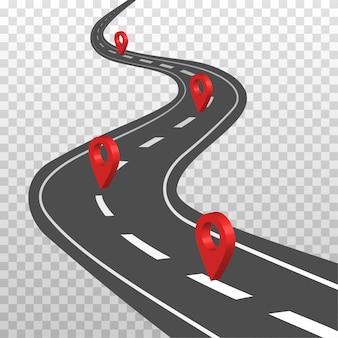 白いマーキングと赤いピンポインターが付いた曲線道路。道路方法の場所のインフォグラフィックテンプレート。空中の視点で高速道路。透明な背景に分離されたイラスト。
