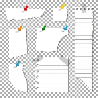 Набор рваных листов, лист бумаги с канцелярскими кнопками и клейкой лентой
