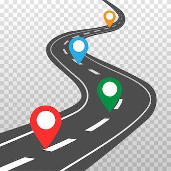 白いマーキングとカラーピンポインターのあるカーブした道路。道路方法の場所のインフォグラフィックテンプレート。空中の視点で高速道路。透明な背景に分離されたイラスト。