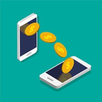 送金または為替。トレンディなアイソメ図スタイルのコインアイコン付きのスマートフォン。お金の動きとオンライン決済。オンラインバンキングのコンセプトです。色の背景上に分離されての図。