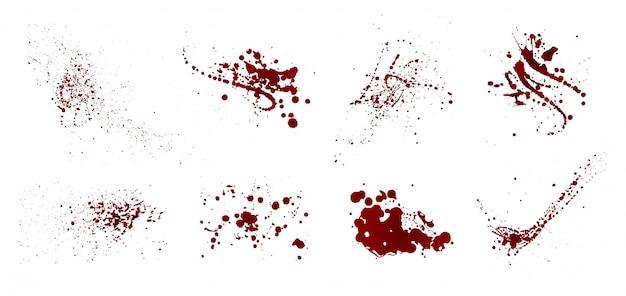 Набор реалистичных кровавых брызг. капля и капля крови. пятна крови. изолированные. иллюстрация на белом фоне. красные лужи