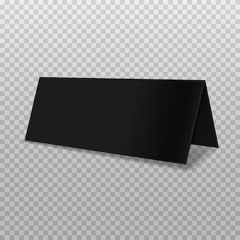 ソフトシャドウと透明な背景にリアルな二つ折り紙パンフレット。黒い小冊子のテンプレートです。