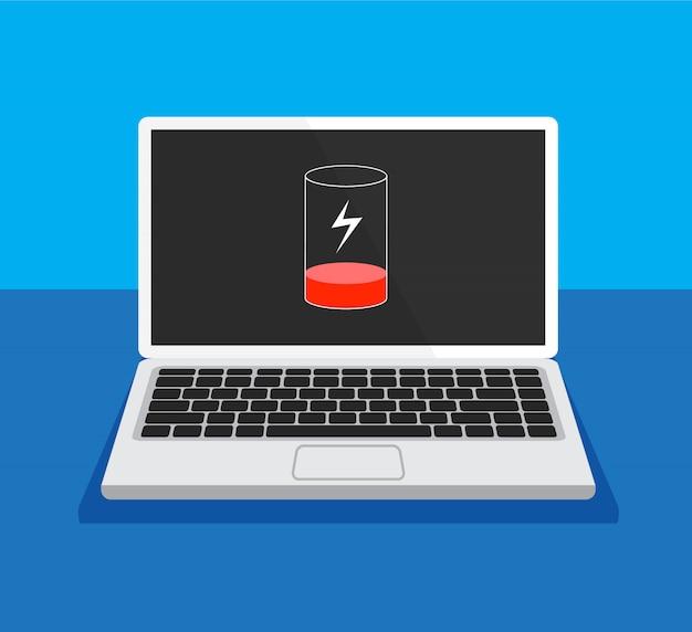 Концепция низкого заряда батареи. ноутбук нуждается в зарядке. монитор компьютера с клавиатуры вид спереди. плоский дизайн. иллюстрации.